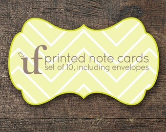 PRINTED Note Cards of Your Choice, set of 10 including envelopes