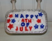 Warm Apple Crisp Scented Primitive Americana Happy 4th of July Grubby Loaf Candle