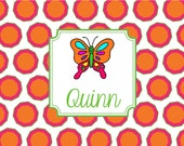 Monogrammed Laminated Placemat  BUTTERFLY