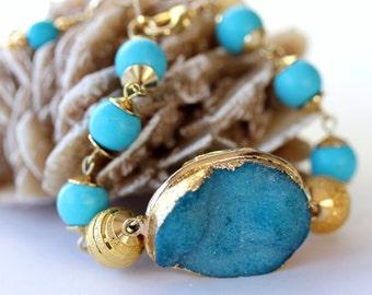 Aqua Druzy Bracelet, Gemstone Bracelet, Beaded Bracelet, Statement Bracelet, Bridal Jewelry, Resort, Southwest Bracelet, Mother's Day Gift