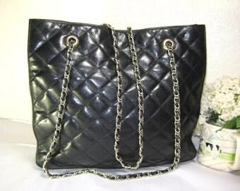Vintage PASCALE CROCHON Black Quilted Leather 2 Way Shoulder Sling Bag