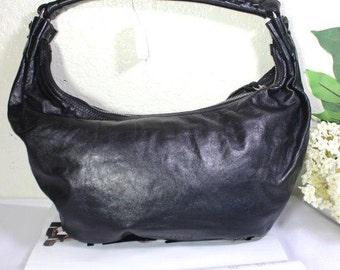 Vintage MIU MIU Black Leather Medium Hobo Shoulder Bag Italy