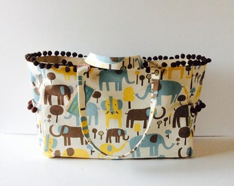 MADE TO ORDER Boutique Style Elephant Diaper Bag, waterproof lining, Pom Pom trim, Faux Leather inside Pockets