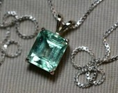 Emerald Pendant 14K White Gold Pendant With 3.00 Carat Colombian Emerald Appraised at 1,900.00