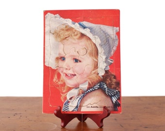 Vintage Built-Rite jigsaw picture puzzle, kids' Sta-N-Place frame tray, 1940s little girl, bonnet, sundress, red, white blue, Warren Paper