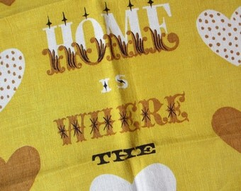 Home heart. Vtg Tammis Keefe kitchen or tea towel, linen, kitchen or wall decor. Great condition.
