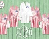 Silk Satin Robes, Wedding Robes, FREE ROBE Set of 7 or MORE Robes,  Bridesmaid Satin Robes, Kimono Robe, Plus Size Robe, Blush Pink Robes
