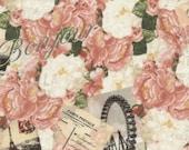 Timeless Treasures April in Paris C3561 Pink Postcards & Peonies  - Cotton Fabric