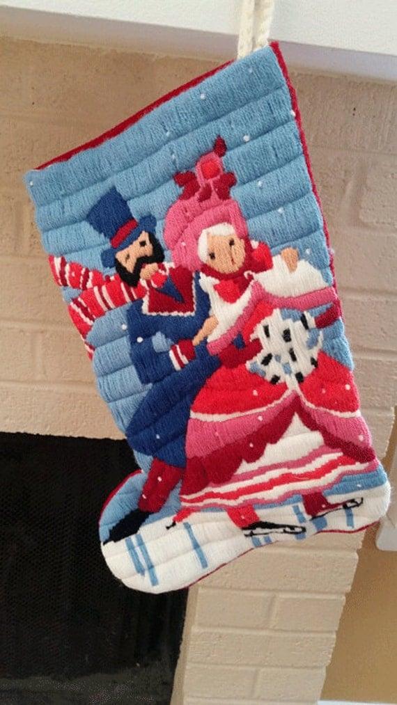 Hand Stitched Needlepoint Christmas Stocking With Oldtime Ice
