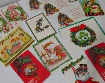 Cute Lot Vintage Christmas Geeting Cards Children Mice Squirrels Lucky Care Bear