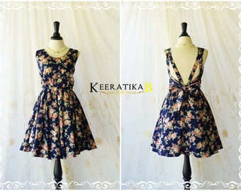 A Party Dress V Shape Dress Navy/Floral Backless Dress Prom Party Dress Wedding Bridesmaid Dress Navy Party Dresses Floral Dress XS-XL