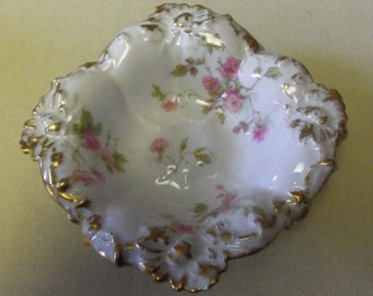 Antique Haviland Limoges Candy Dish  Pink Flowers