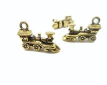 20pcs 12x17mm Antique Gold Mini 3D Locomotive Charm Pendant C7979