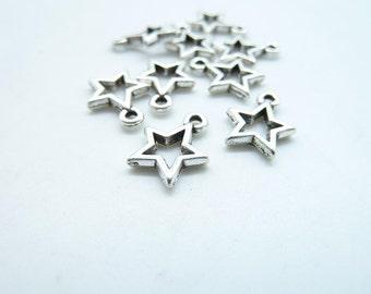 80pcs 10x12mm Antique Silver Mini Star Charm Pendant c6915