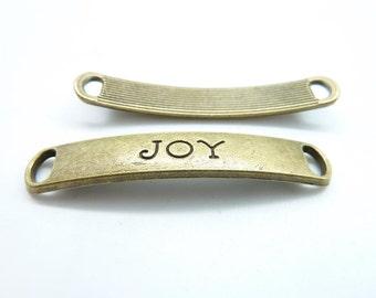"""10pcs 8x50mm Antique Bronze  Heavy Letter """"Joy"""" Connector Link c7042"""