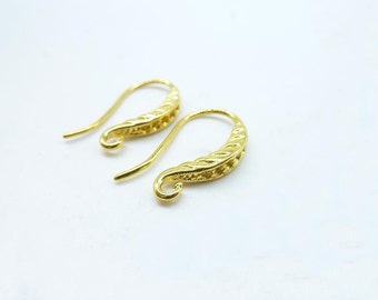 10pcs(5 pairs) 16x18mm Golden Plated Brass Earring Hook Earwires C6836
