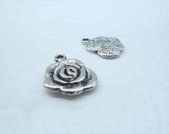 20pcs 18x13mm Antique Silver Mini Rose Flower Charms Pendant b89