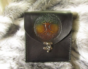 Customizable Leather Belt Pouch, Loop Back,  SCA, LARP, Cos Play, Choice of design and color