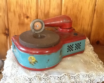 Antique Tin Toy Phonograph Electric Lindstrom 276 ON SALE