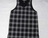 ROJAS plaid perforated tank mens tanks grey tartan mesh tanks plaids muscle vest  gray tee sleeveless