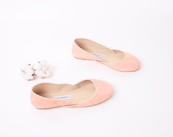 Blush Suede Ballet Flats | Leather Ballerinas | Slip Ons | Flat Summer Shoes...Blush...made to order