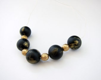 Handmade Necklace Chunky Beads Black Gold Organic Cotton Cord Statement Jewelry