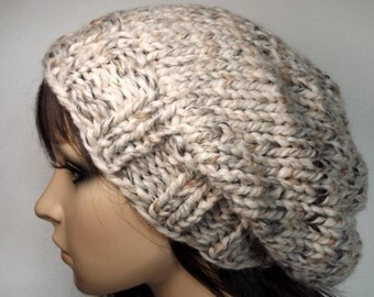 Unisex Slouch Beanie- Tan Marble Cream Neutral