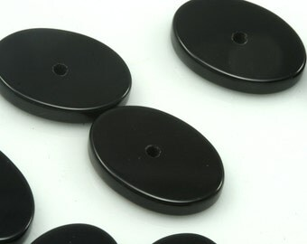 2 pcs Onyx 12x16 mm oval coin cabochon with middle hole