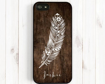 Ethnic Pattern Feather iPhone Case, Printed Image False Wood Samsung Galaxy s3 s4 s5 Case, Note 3 4, iPhone 7 5c, iPhone 5s, iPhone 6 NP57