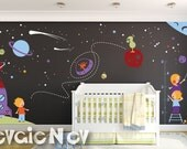 Stars Wall Decals - Nursery Space Wall Stickers with Kids Astronauts - PLOS070