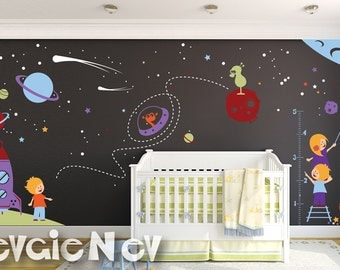 Boys Wall Decals - Stars Wall Stickers - Nursery Space Wall Stickers with Kids Astronauts - PLOS070
