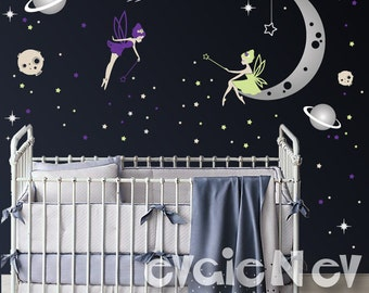 Moon and Stars Fairy Wall Decals - Nursery Star Faries Wall Decals, Baby Nursery Decal and Baby Nursery Sticker -  PLMNSTR010