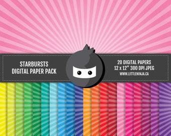 """INSTANT DOWNLOAD // Starbursts Digital Paper Pack // 300 dpi, jpeg, 12x12"""""""