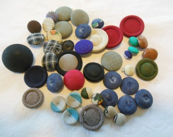 Vintage Fabric Covered Buttons, Lot of 40+