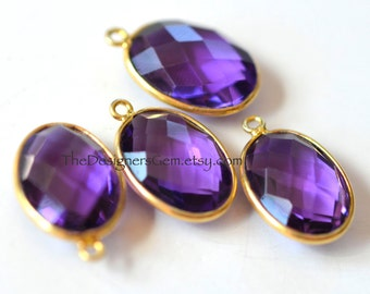 Purple Amethyst Oval Pendant with Vermeil Gold Bezel