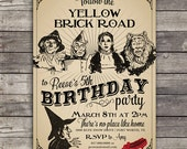 Vintage Wizard of Oz birthday party invitation and food tents design