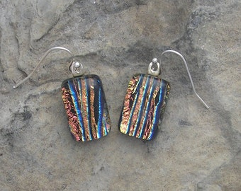 Coral Earrings Fused Dichroic Glass Dichroic Earrings