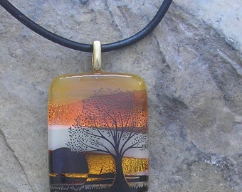 Sunset Tree Necklace Fused Dichroic Glass Tree Pendant