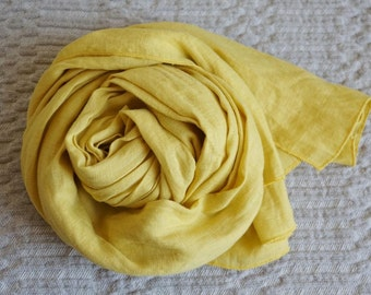 Linen Scarf --Bright Yelow -Natural-Pure Linen-Summer