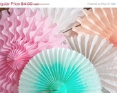 Party Decor Paper Fans .... Pick Your Colors // weddings // birthdays// party decorations // candy dessert buffet table  // peach coral aqua