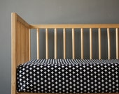 Black white crib sheet- Small crosses- Monochrome nursery- gender neutral - nursery fitted sheet-  Changing pad cover