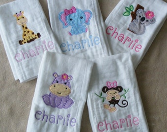 Personalized Zoo animals burp cloth or bib set for girls