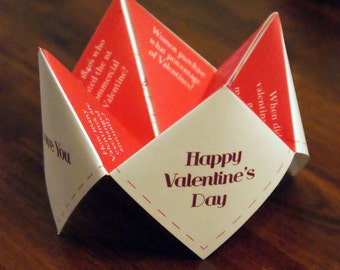 Valentines Day Cootie Catcher, Valentine, DIY Valentines, Valentines Card, Favor, Decor, Invitation, I Love You, Be My Valentine, Be Mine
