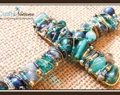 """Teal, Gold and Grey 5"""" Beaded Cross (wrapped with Gold Wire)"""