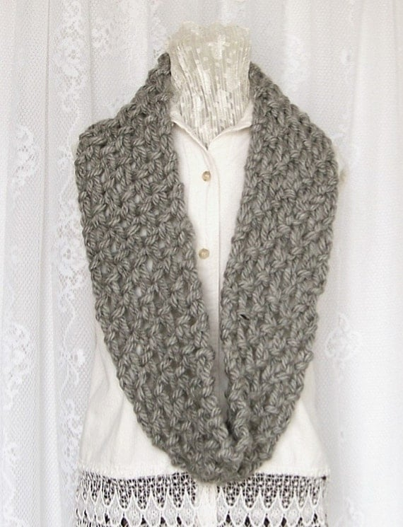 Hand Knit Cowl Scarf - Infinity Cowl Scarf medium grey,  gray - Winter Accessories Winter Fashion Sandy Coastal Designs - ready to ship