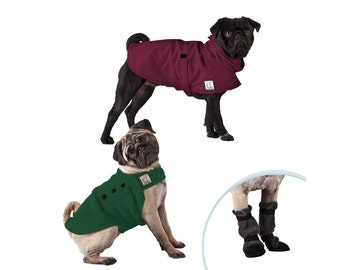 PUG Moderate Climate Special, Dog Rain Coat, Dog Sweater, Dog Booties, Waterproof Raincoat, Fleece Sweater, Winter Boots, Dog Clothes,