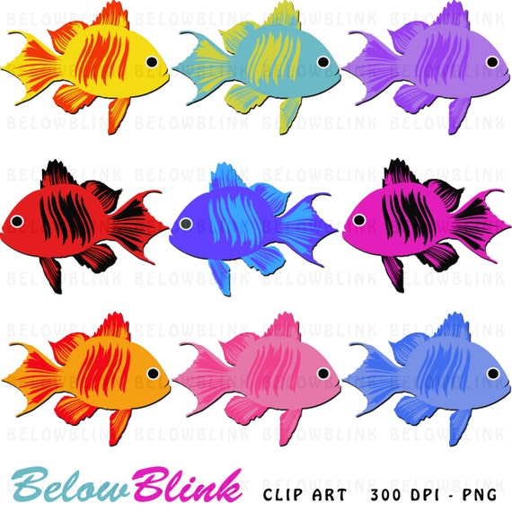 Cute colorful fish clipart clip art digital scrapbooking for Printable fish pictures