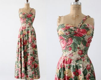 1940s floral maxi dress, vintage long sundress