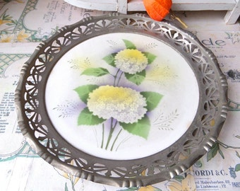 French Art Deco  Faience Fruit Plate, Fruit Basket, Transfer Plate with metal frame