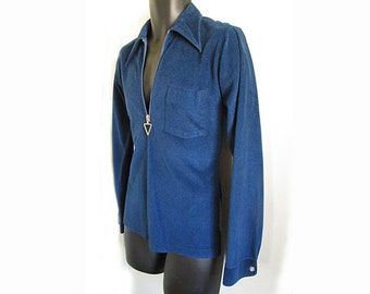 1970's Manfredo Pullover Shirt with triangle zip pull / Small / dark blue valour